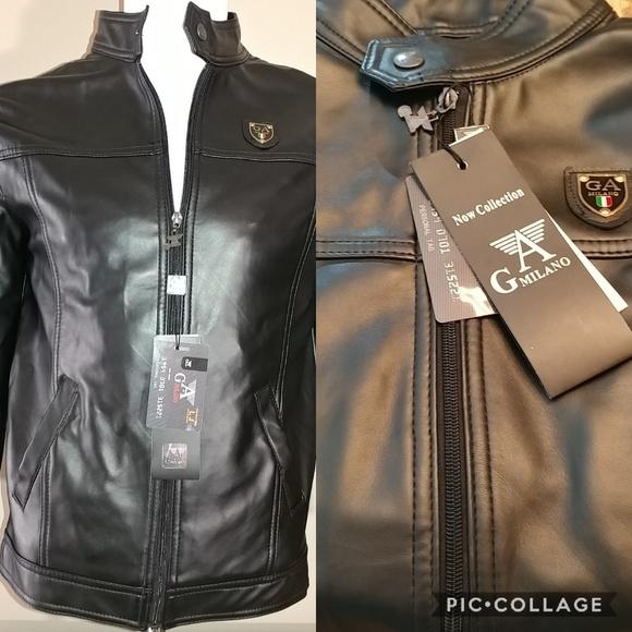 2affaf7107 GA Milano Men s Black Vegan Leather Jacket